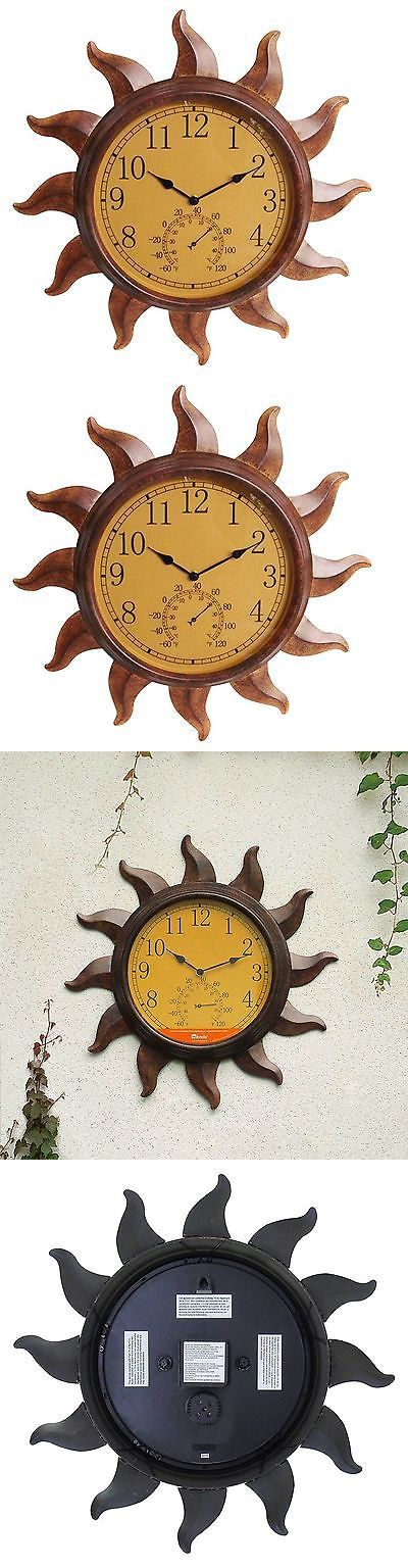 Outdoor Thermometers 75601: Indoor Outdoor Rustic Sun Thermometer Clock Temperature Weather Glass Face Decor -> BUY IT NOW ONLY: $52.47 on eBay!