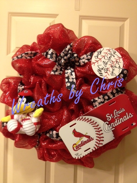 """A different take on the World Champions Cardinals.  Red foil mesh wreath with Fredbird, a license plate, an """"autographed"""" ball, and black baseball ribbon.   # Pinterest++ for iPad #: Thoughts Of You, Wreath Attempt, Aarant Thought, License Plates, Baseball Ribbon, Mesh Wreaths, Mesh Ideals Wreaths, Cub Fans"""