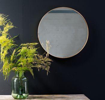 Round Gold Edged Mirror