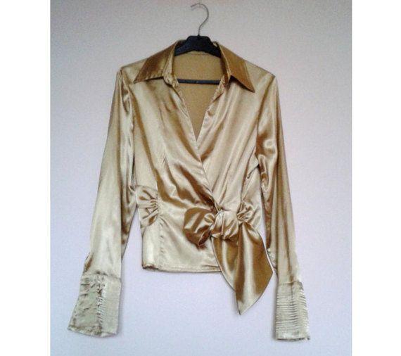 CleanVintage Bow Shirt Golden Satin ShirtYellow by VintageBrandNew