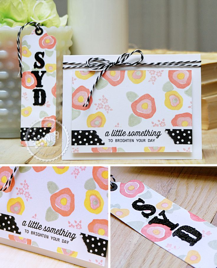 Sarah Martina Parker for Wplus9 featuring and Blanket Stitched Blooms stamps and Folk Art Alphabet die.
