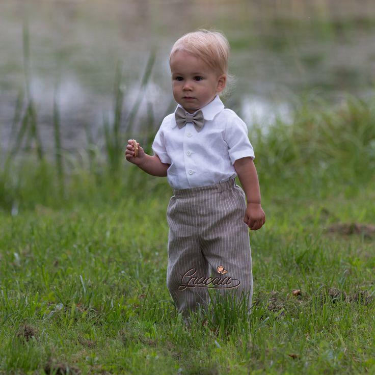 Niño traje de lino anillo portador traje niño bautismo por Graccia