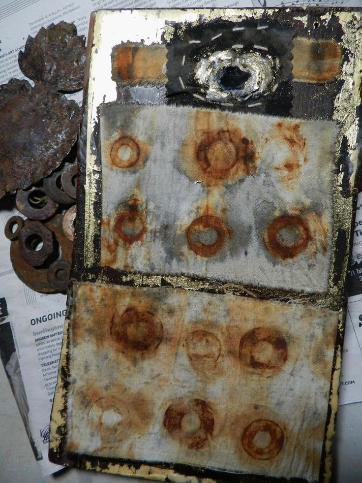 art from rusted objects   Dyeing with rust   Pinterest