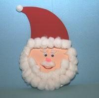 Paper Plate Santa!  http://www.allkidsnetwork.com/crafts/christmas/cotton-ball-santa.asp