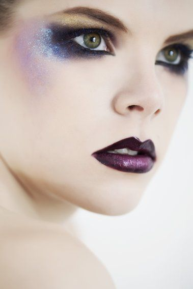 Glitter blues and purple lips | Fantasy Faces | Pinterest