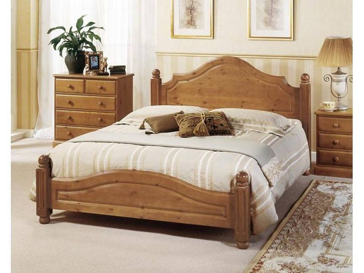 Vintage King Size Bed With Natural Wooden Material