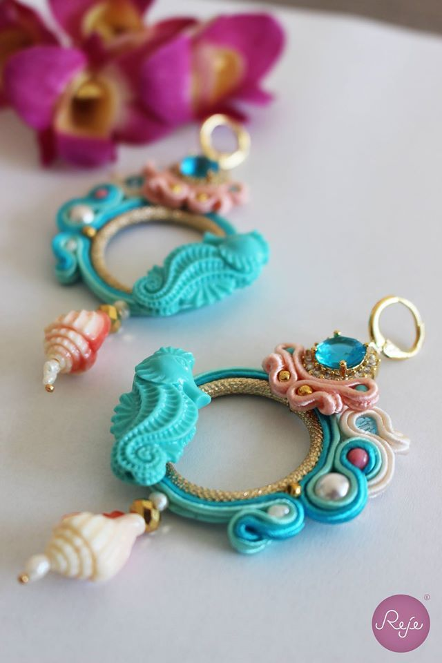 Soutache jewelry, soutache earrings, sea earrings, handmade in Italy…