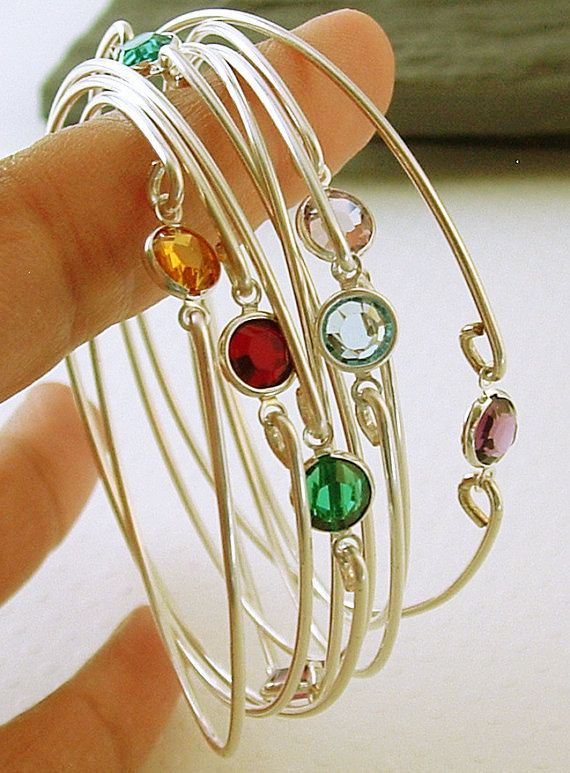 Birthstone Bracelets Stacking Silver Bangle Bracelets Gemstone Bangle Bracelet Thin Bracelet Bridesmaids Gift Gemstones jewelry  These stacking