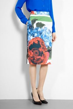 Ella Floral Collage Print Pencil Skirt by Preen