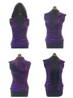 Kiko Cross Front Hooded Vest crochet pattern  Sizes S up to 3XL Body Warmer Hooded Waistcoat crochet pattern