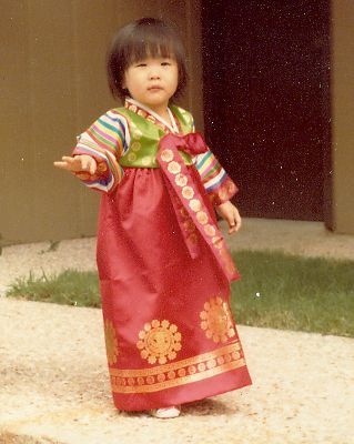 I kid you not, there is a pic of me as a toddler in a Korean hanbok just like this! The hair is similar as well...Lol