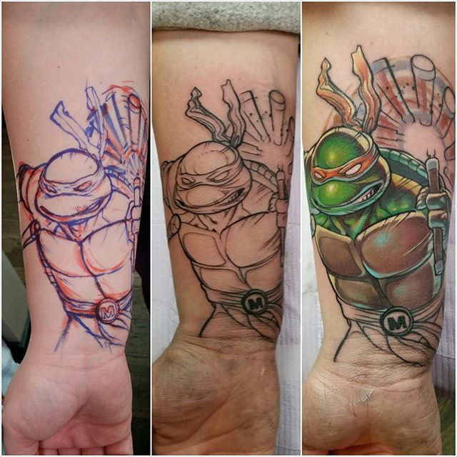 Start of a 90's sleeve. Finally got to tattoo a ninja turtle! Progress pics show my process from marker to lines to full color. Can't wait to get back to work on this sleeve! #trevorjameus #ninjaturtles #tmnt #freehandtattoo #ninjaturtletattoo #teenagemutantninjaturtles #cowabunga #michaelangelo #michaelangelotattoo #freehand