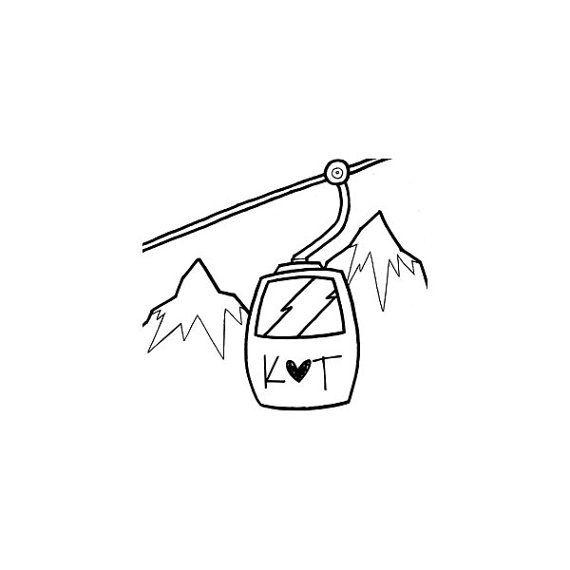 Ski resort wedding Ski Gondola custom rubber stamp by terbearco, $35.99