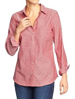 Women's Oxford Shirt in Red Dot, Purple, and Gray Dot   Old Navy