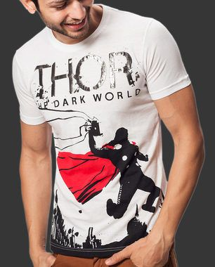 """""""Oh no, this is Earth, isn't it?"""" Let the God of thunder, lightning, storms and the protection of mankind reveal himself in this """"Dark World"""" tee. Shop Now: http://voxpopclothing.com/thor/MATH0001MWH"""