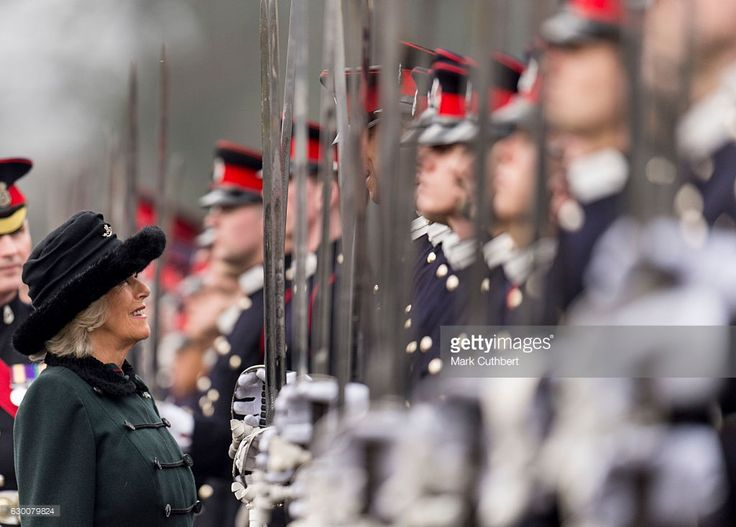 HRH The Duchess of Cornwall attends The Sovereign's Parade at Royal Military Academy Sandhurst on December 16, 2016 in Camberley, England.  Today is the first time The Duchess has represented Her Majesty The Queen at the annual event that marks the passing out of Officer Cadets on completion of their Commissioning Course.  (Photo by Mark Cuthbert/UK Press via Getty Images)