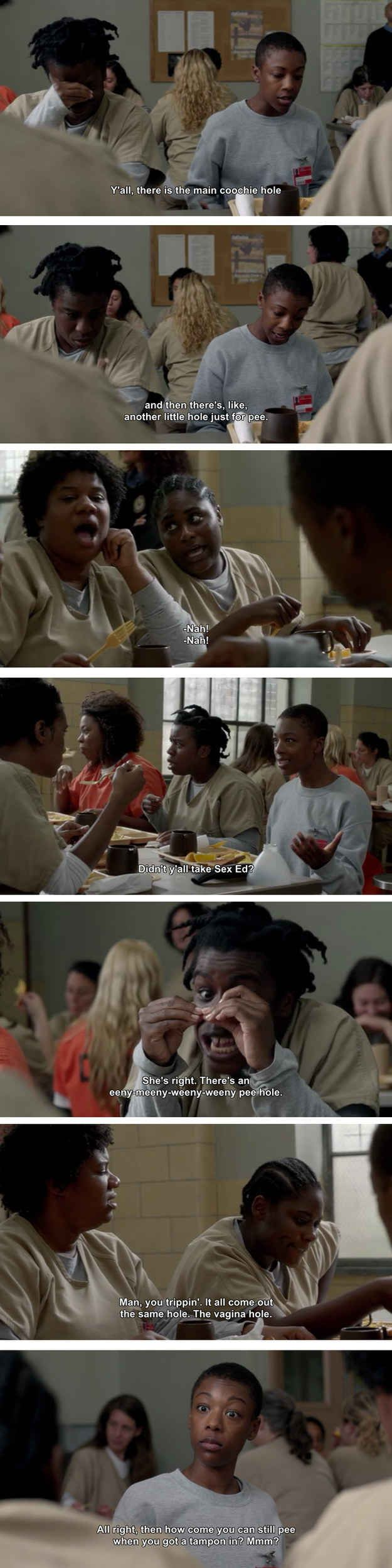 "Poussey on the fine construction of female anatomy: | The 25 Greatest Lines From ""Orange Is The New Black"" Season 2"