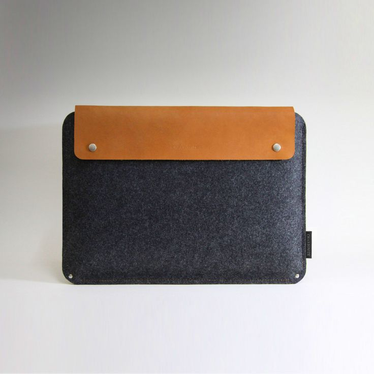 mac book pro sleeve...charcoal wool and camel leather..very nice