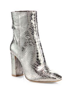 ALEXANDRE BIRMAN Zanny Metallic Python Block-Heel Booties. #alexandrebirman #shoes #boots