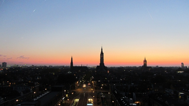 Colorful Sunset View from a Hotel in Delft, NL