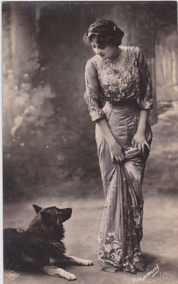 Beautiful Edwardian Lady and her Dog..original vintage french postcard..real…                                                                                                                                                                                 More