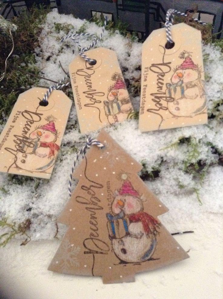 December fijne feestdagen label Gemaakt door PBoonzaaijer