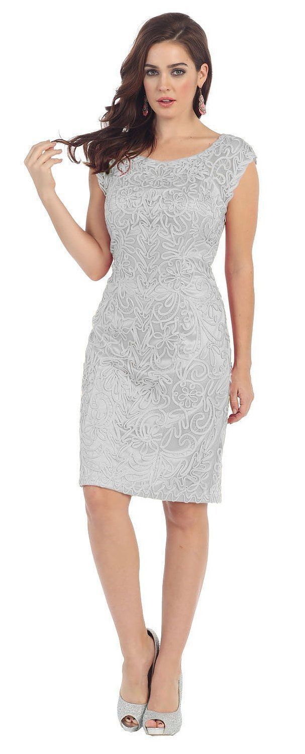 This amazing knee length mother of bride groom short dress features round neckline hand beaded embroidery in front and back area and taffeta material. Perfect for wedding, evening party and other spec