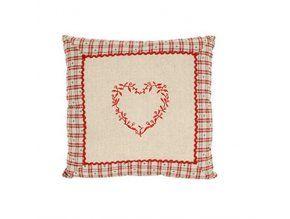 Polštářek 40 x 40 cm Sladký domov - dekor vyšívané srdce červené uprostřed