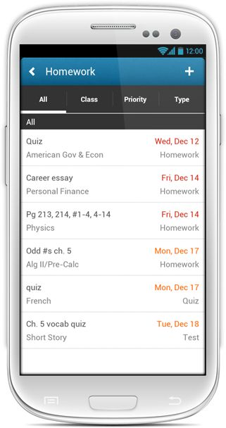 """A lifesaver for the less than organized - creates a color coded calendar of assignments! Back to school week: Nothing beats the """"My Homework"""" app for staying organized."""