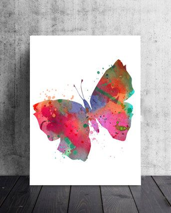 Watercolor Butterfly Art Print Colorful Butterfly Illustration, Wall Decor, Butterfly Poster, Butterfly Art Print, Nursery Art, Wedding Art by WatercolorArtPrint on Etsy https://www.etsy.com/listing/241711102/watercolor-butterfly-art-print-colorful