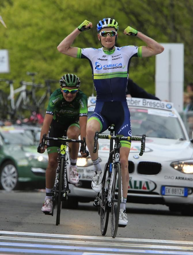 Giro 2014 - 9 (172 km, Lugo - Sestola) : Pieter Weening (Netherlands / Orica-GreenEdge) wins stage 9 of the Giro d'Italia ahead of Davide Malacarne (Italia / Europcar). - Photo: © Bettini Photo