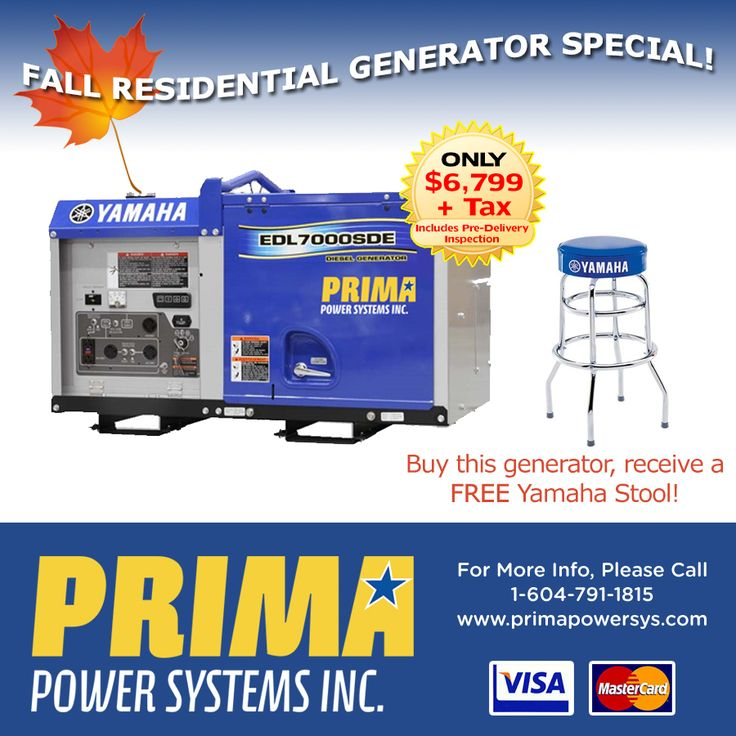 DON'T MISS OUT on our FALL #Generator Special! - EDL 7000SDE Yamaha Residential Generator! For more information Call 1-604-791-1815.