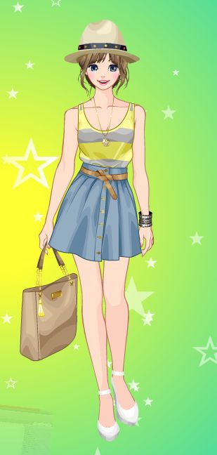 Online dress-up games -  Blue and yellow