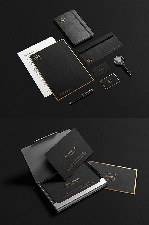 Black and Gold Stationery MockUp PSD #freepsdfiles #freepsdmockups #freebies #presentationmockups #mockuptemplates