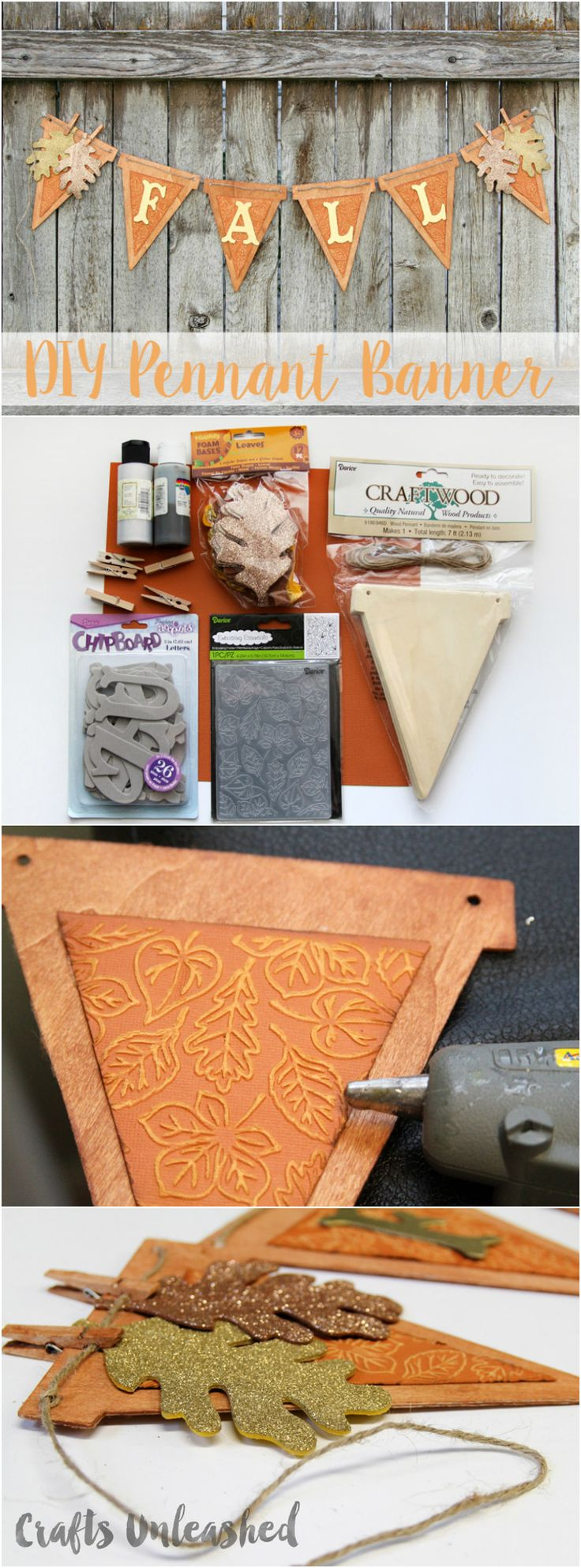 Wooden Pennant DIY Fall Banner