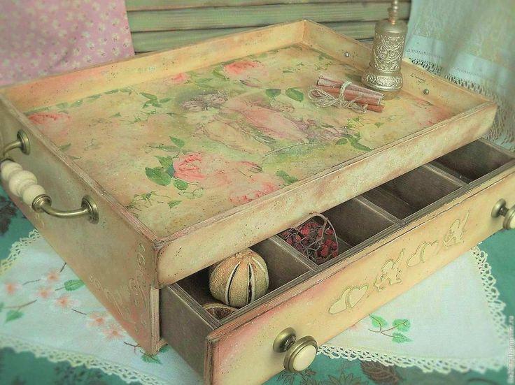 """Купить Столик сервировочный """"Ванильное небо"""" (для Наталии) - поднос сервировочный, поднос, столик сервировочный"""
