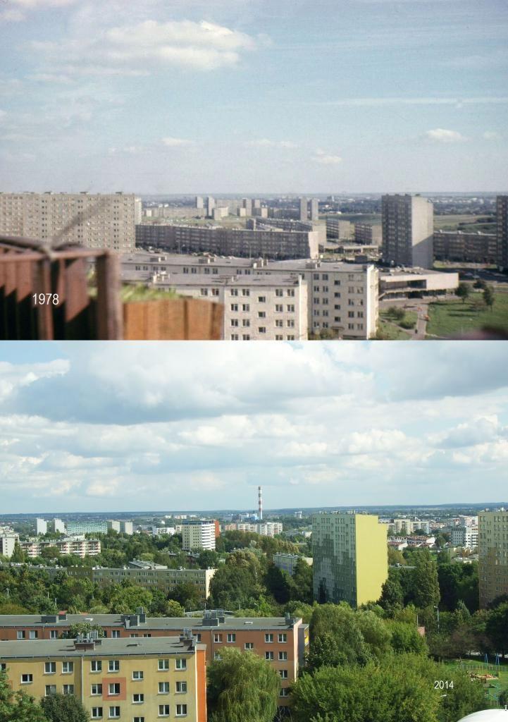Na pierwszej fotografii nie ma komina EC oraz całego osiedla Czuby a zieleni jak na lekarstwo. Wieżowiec z prawej strony ma adres Skrzetuskiego 6 a cztero piętrowe budynki (białe ściany) w centralnej części - to Irydiona 8 i 10. źródło; Dziadeczek_Andre