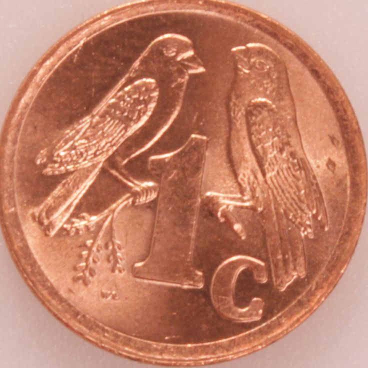 """1 Cent #Sud #Africa -1996 Rappresenta una copia di ucceli tipici del Sud Africa, che si cheamano """"Pigliamosche""""."""
