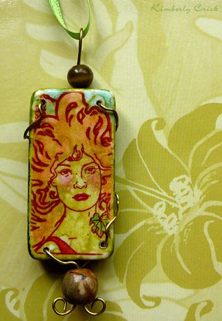 156 best rubber stamped domino pendants and tutorial images on art nouveau woman rubber stamped domino pendant with alcohol ink covered base stamped in timber brown aloadofball Image collections