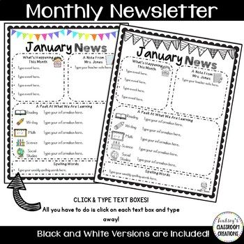 Editable Classroom Newsletter Templates - Color  Black and White