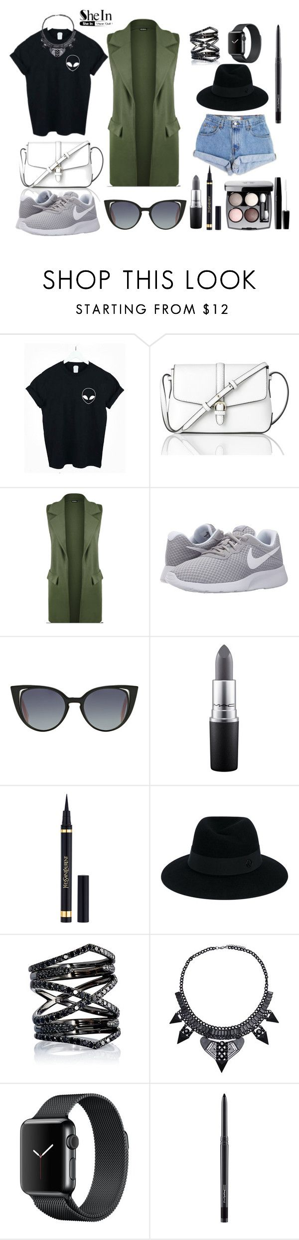 """Black t-shirt"" by a-z07 ❤ liked on Polyvore featuring Levi's, L.K.Bennett, WearAll, NIKE, Fendi, MAC Cosmetics, Yves Saint Laurent, Chanel, Maison Michel and Eva Fehren"