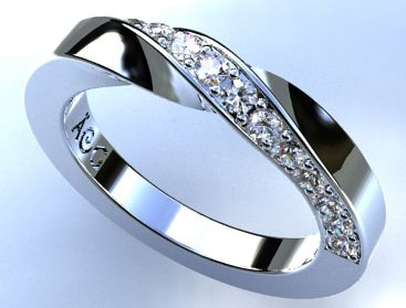 alianza de oro blanco y brillantes. Twisty wedding ring in 18 K white gold with diamonds.   Ana G.Näs