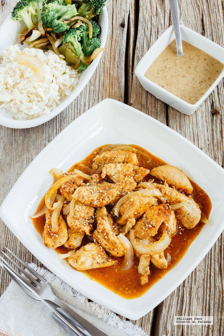 Fajitas de pollo con paprika y salsa de sésamo. Receta con fotografías del paso a paso y recomendaciones de degustación. Recetas de carnes blanc...