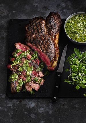 This recipe comes from Dan Doherty of Duck and Waffle. Herbs and edible flowers come in a wonderful variety of flavours and aromas. Traditional herb-based green sauces, such as chimichurri and salsa verde, can be adjusted using whatever you find around. Peppery nasturtiums, tart wood sorrel and bitter flower petals mixed with good olive oil, shallots and a touch of lemon make a great accompaniment to steak, especially a tender, rare rump.