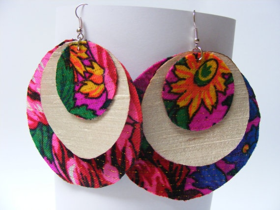 3 layer fabric earrings - $20 - these bold earrings feature green, pink, red, and yellow colors that make any outfit pop. They measure 8 cm.
