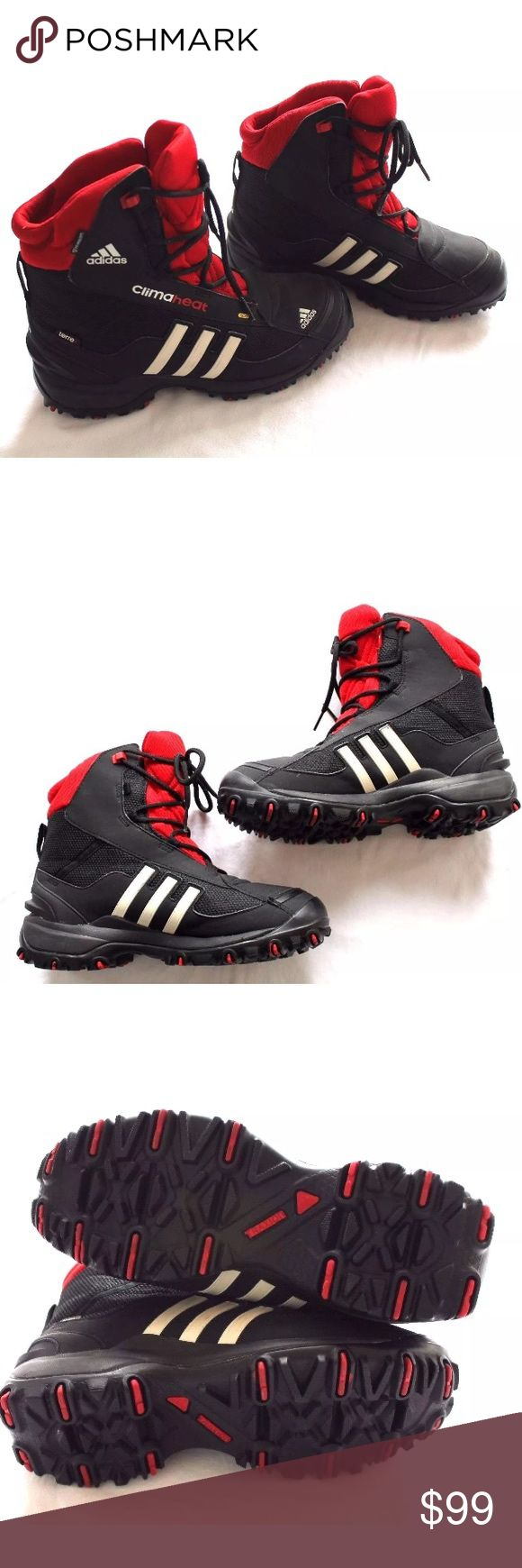 Adidas snow boots black red and white stripes sz 7 used These are a very awesome pair of Adidas athletic Snow boots Men's size 7 synthetic upper lace detailing. Some creases Rubber outsole please check pictures. they are part of the description Adidas Shoes Boots