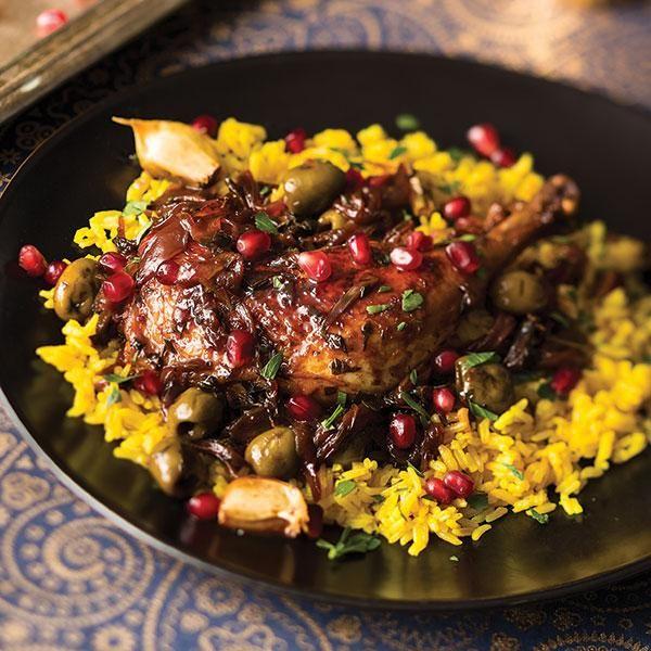 Persian Pomegranate Chicken Legs with Saffron Rice ... Persian Pomegranate Rice