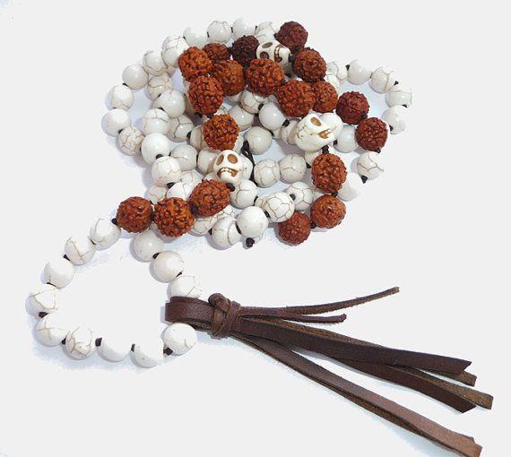 Hindu Goddess KALI MALA long necklace, hindu mala 108 bead mala, Howlite Rudraksha Mala,Skull Mala,Yoga Necklace,Meditation Mala,SKULL,