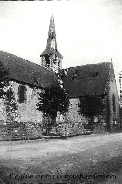 Chantrigné church after the the bombardment, that took out a German sniper.