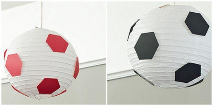 Lamparas-pelotas para decorar cumpleaños de niño tematica futbol